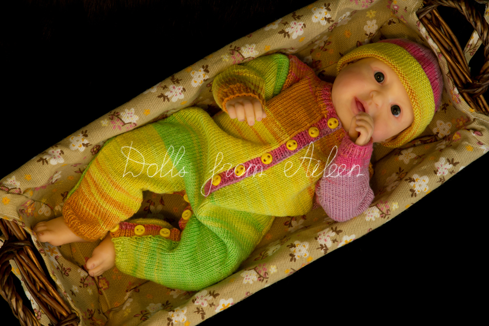 ooak posable baby doll in basket