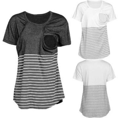 Striped Maternity  Nursing Top T-Shirt Blouse