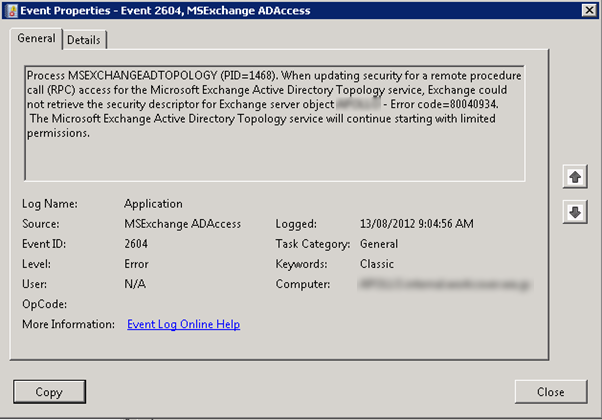 Msexchange adaccess when updating security for a remote procedure call
