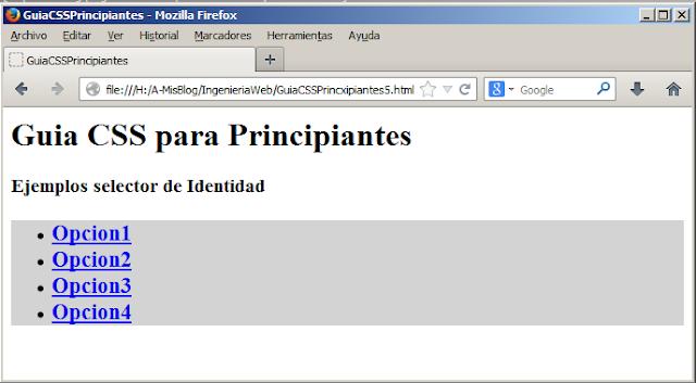 Hojas de Estilo en Cascada CSS, Selector de Identidad