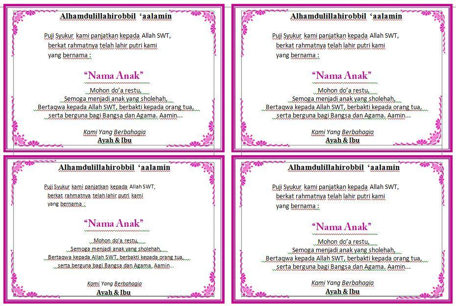 Download Contoh Kartu Ucapan Aqiqah Cantik Versi Word