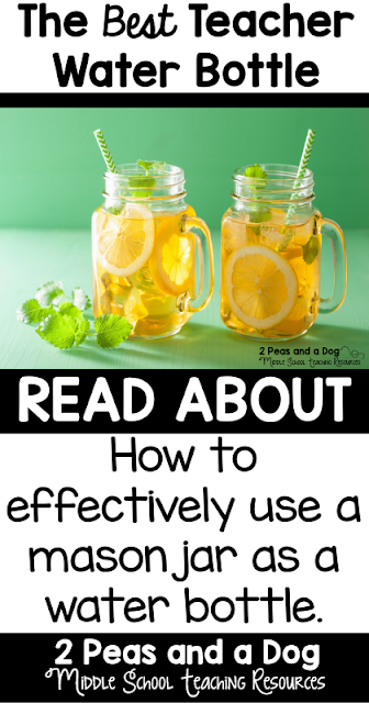 Read about why you should use a large mason jar as your teacher friendly water bottle from the 2 Peas and a Dog blog.