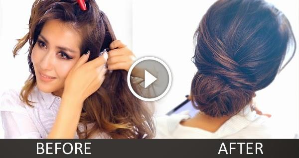 Sensational 2 Minute Elegant Bun Hairstyle Totally Easy Hair Tutorial B Hairstyles For Men Maxibearus
