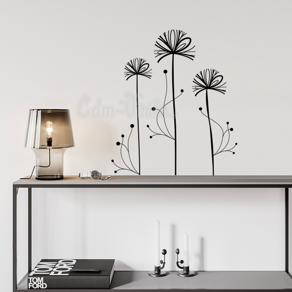 vinilo decorativo pared floral tres flores