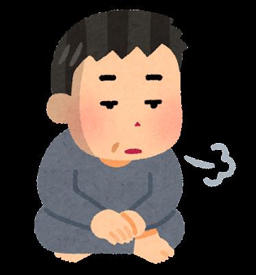 無気力な人のイラスト(中年男性)
