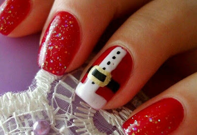 christmas holiday themed nails acrylic art with santa clauss pattern