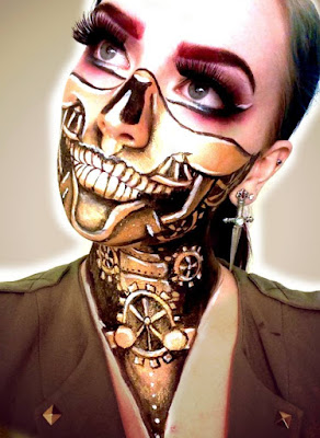 steampunk halloween makeup steampunk skeleton face and body makeup with gold gears