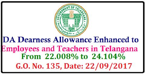 DA Dearness Allowance Enhanced to Employees and Teachers in Telangana wide GO No 135 telangana-ts-go-no-135-da-dearness-allowance-enhanced-to-state-government-employees-teachers D.A. to the state government employees from 1st January 2017 D.A. G.O. No. 135, Date: 22/09/2017 /2017/09/telangana-ts-go-no-135-da-dearness-allowance-enhanced-to-state-government-employees-teachers.html