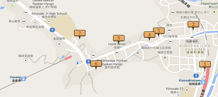 mapa  con los onsen de kinosaki