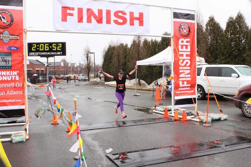 Crossing the finish line triumphant