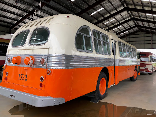 An old orange and cream bus at the Southeastern Railway Museum in Duluth, GA