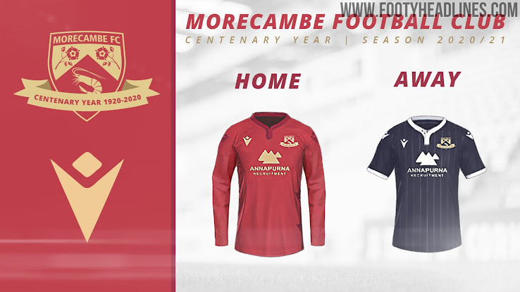 Morecambe 20 21 Home Away Kits Centenary Crest Revealed Footy Headlines