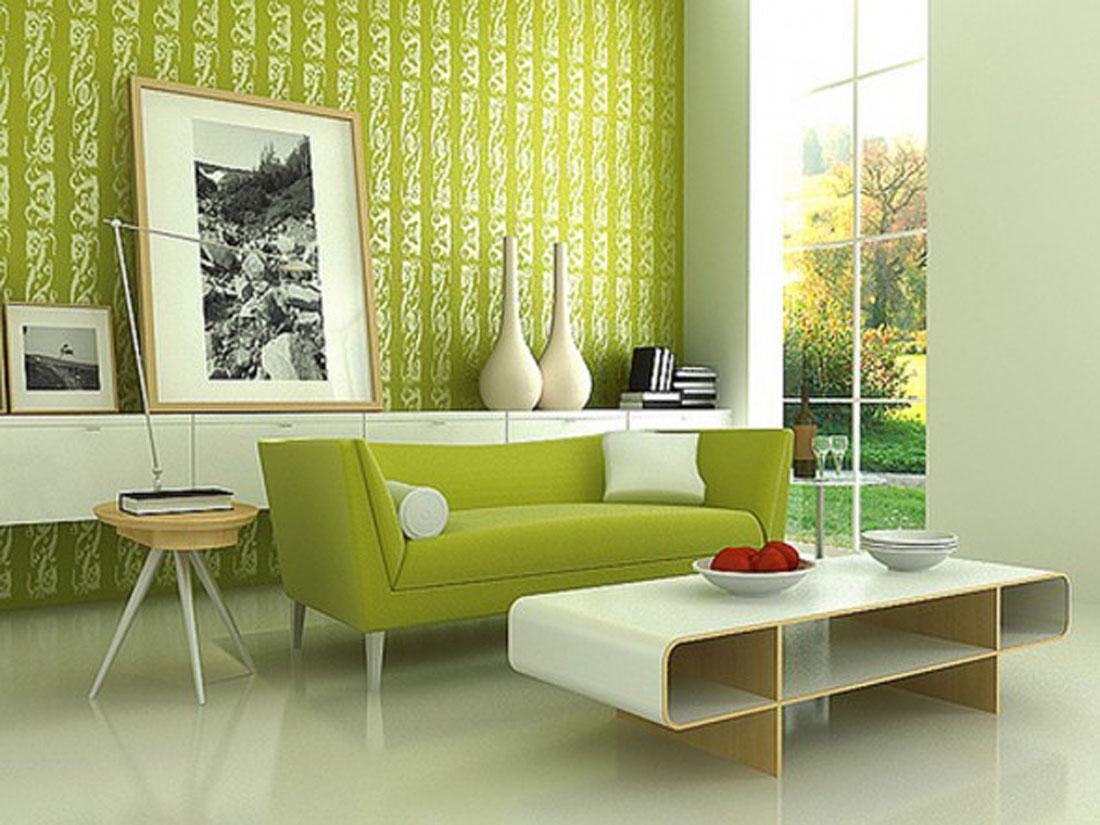 Classic Green Wall Living Room Paint Interior Design