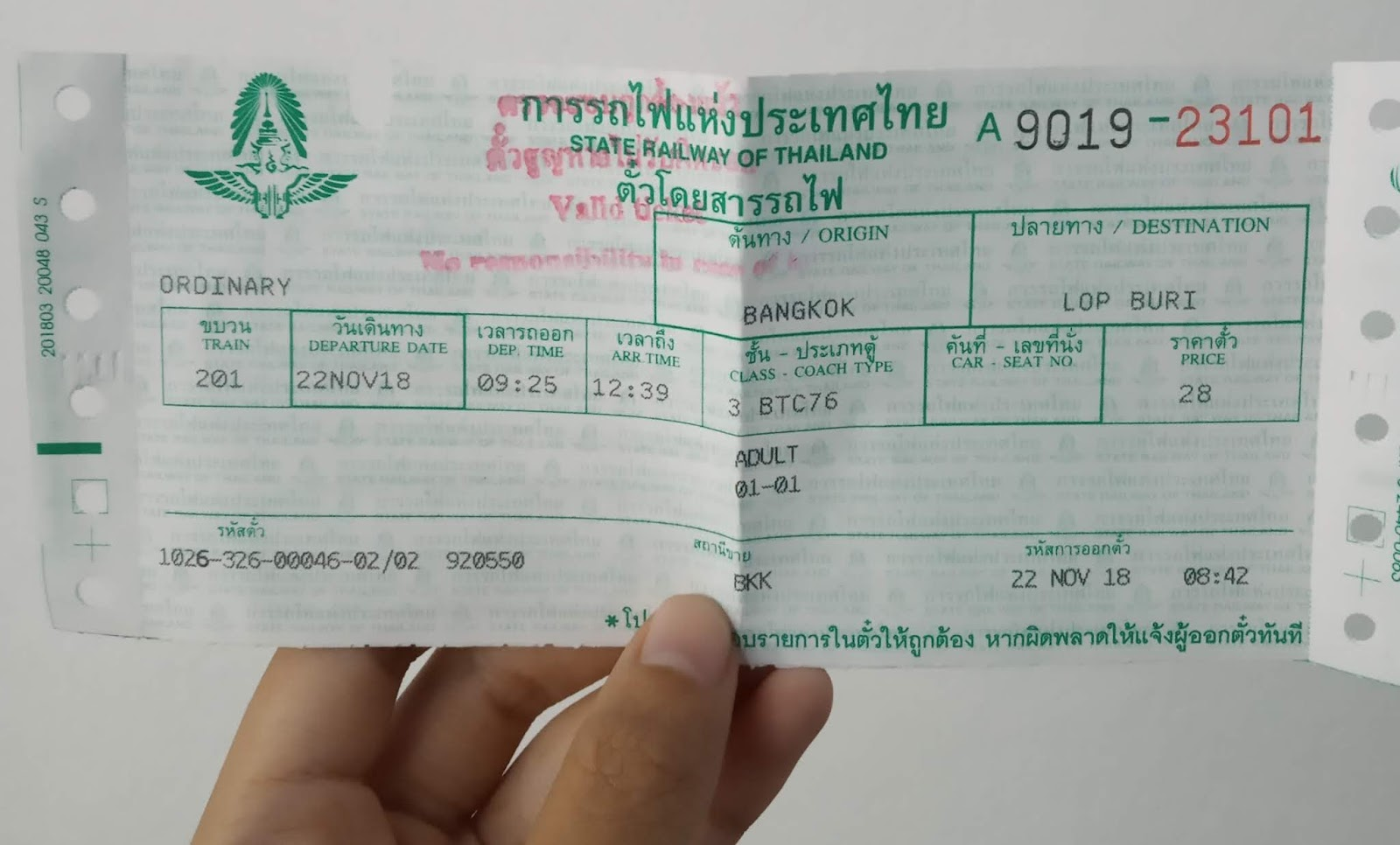 The train ticket to Lopburi