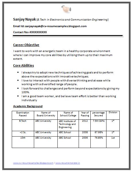 Sample Resume Fresh Commerce Graduate Mcom Resume Samples For Freshers Sample Resume Format For Fresh Jobstreet Philippines