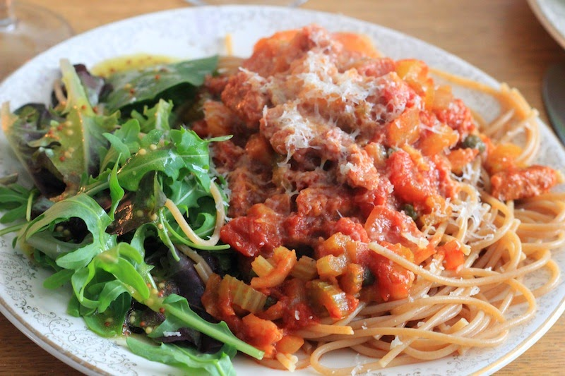 Spicy Vegetarian Sausage Casserole with spaghetti and salad