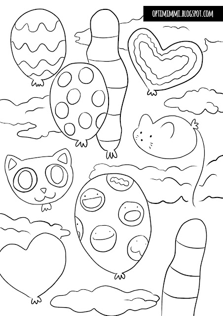 OPTIMIMMI: The lost balloons (a coloring page) / Kadonneet