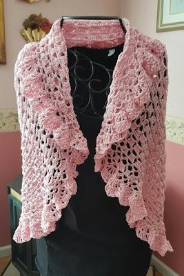 Custom Handmade Crochet Pink Shawl By Brenda Burgess