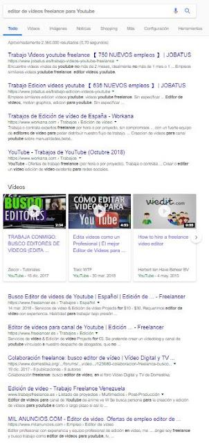 resultados búsqueda editor de vídeo freelance
