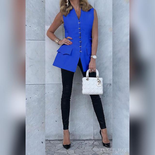 Αμάνικο μπλε γυναικείο πουκάμισο REBECA BLUE