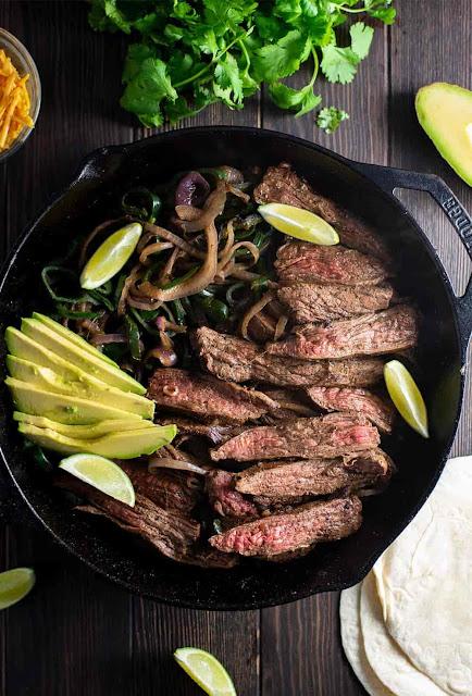 Skillet Flank Steak Fajitas Recipe - Food