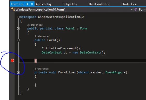 Create break point after DataContext Object