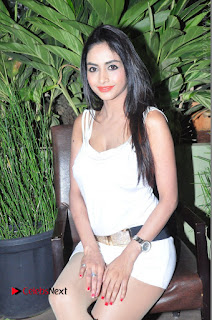 Actress Model Pooja Sri Stills in White Short Dress at F Club pre soft Launch  0116.JPG