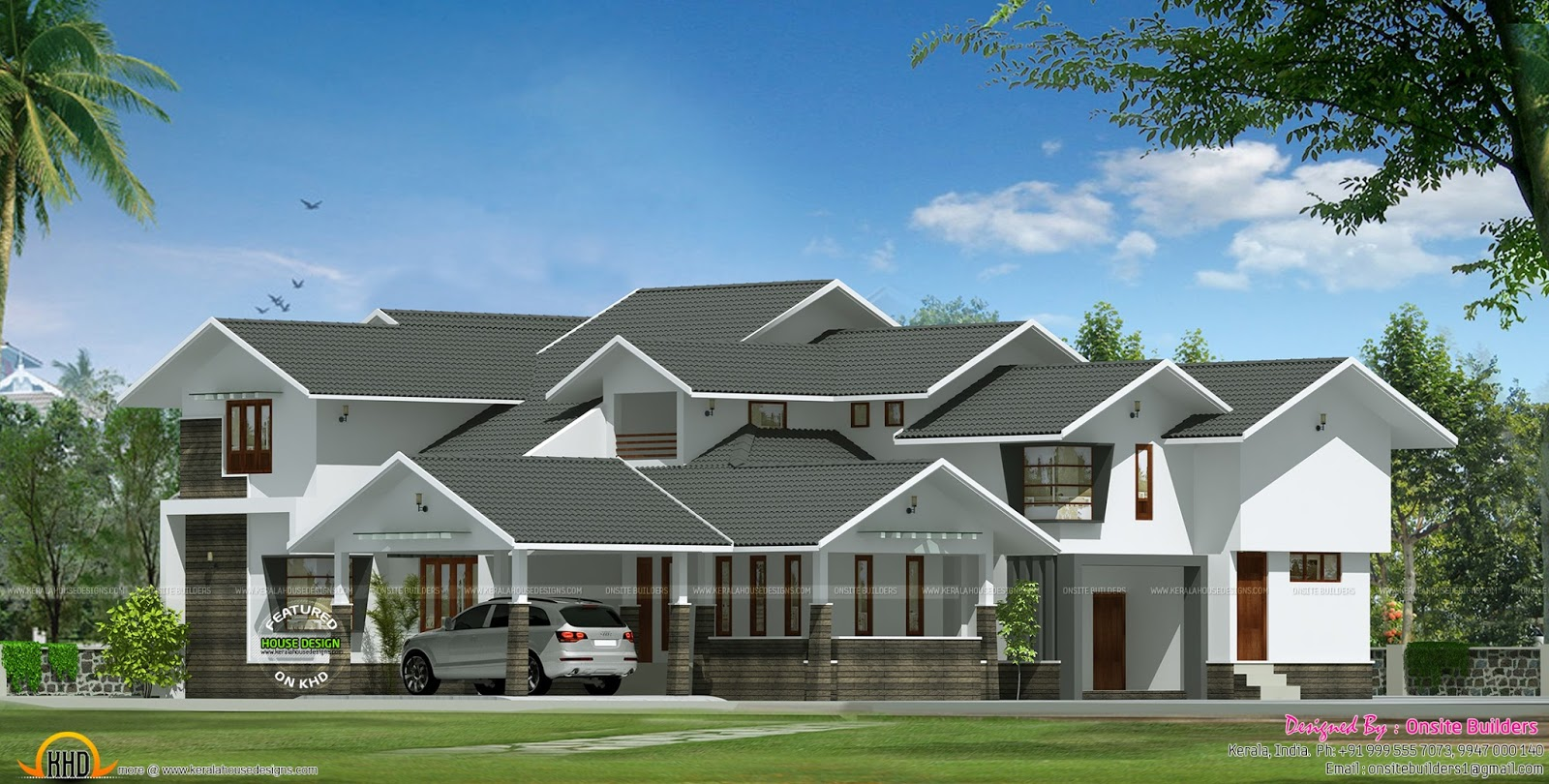 Luxury sloped roof house kerala home design and floor plans for Executive home plans designs