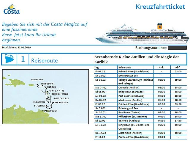Kreuzfahrtticket mit Reiseroute ./. Screenshot Costa Kreuzfahrten