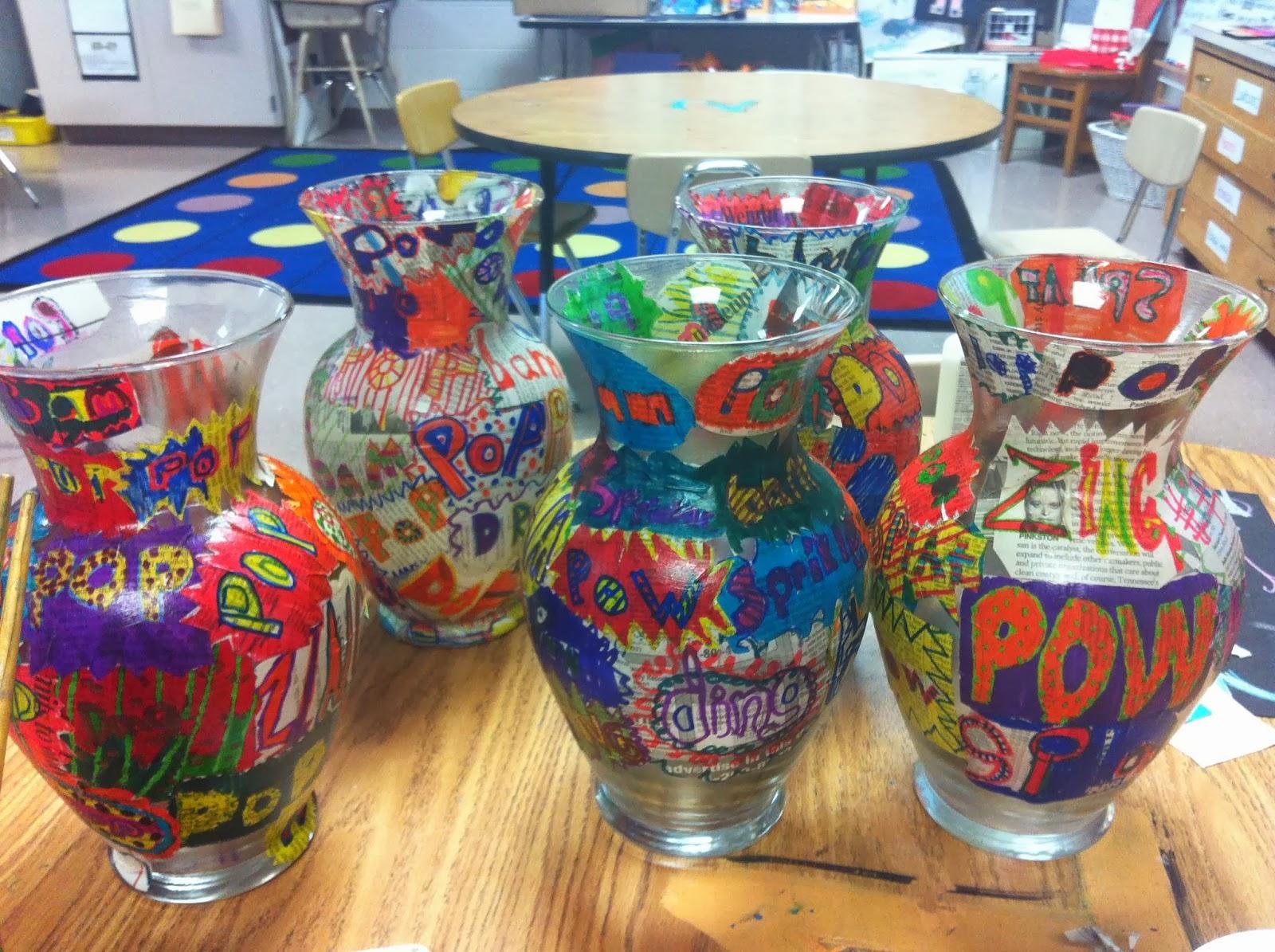 Chumleyscobey Art Room Pop Art Vases 3rd Grade Auction Project