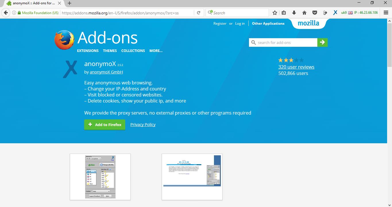 Firefox Addon Anonymox