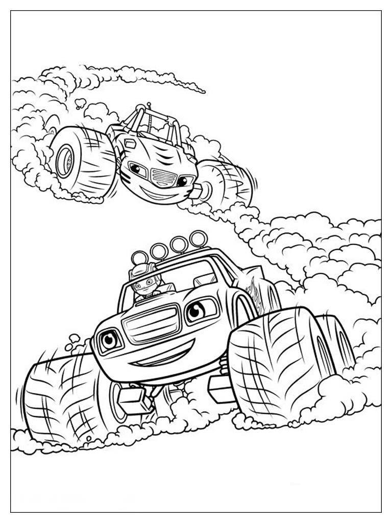Gambar Mewarnai Blaze And The Monster Machines  Mewarnai