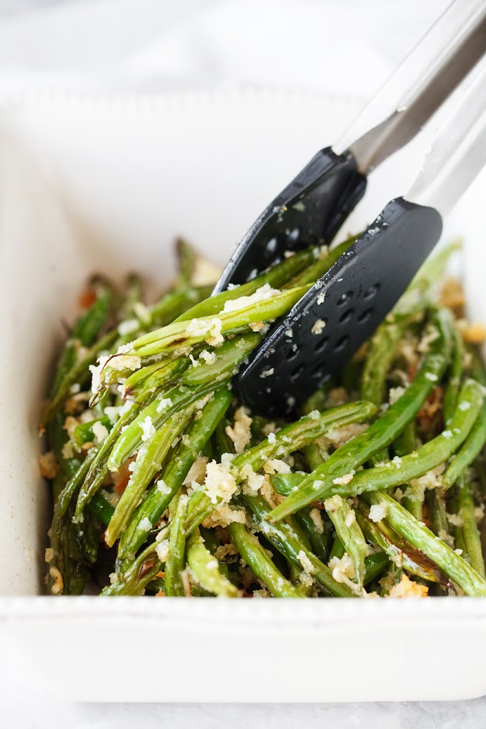 Roasted Parmesan Green Beans #healthy #parmesan