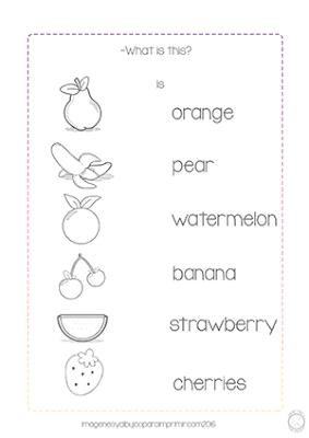 ficha de Inglés para imprimir con frutas