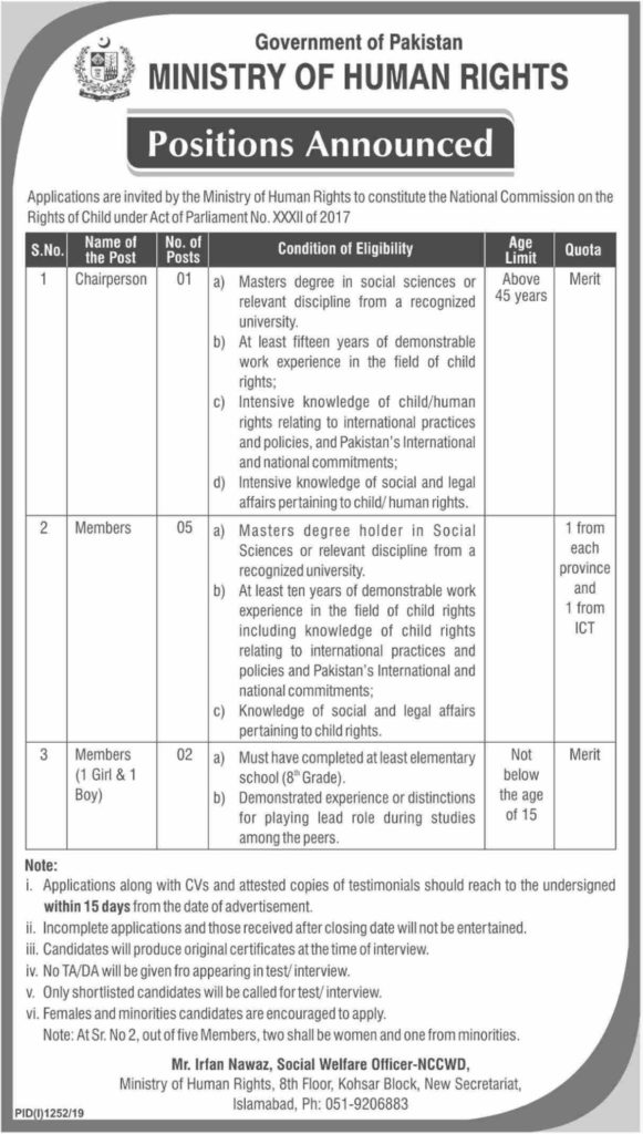 Jobs in Ministry of Human Rights New Jobs 2019