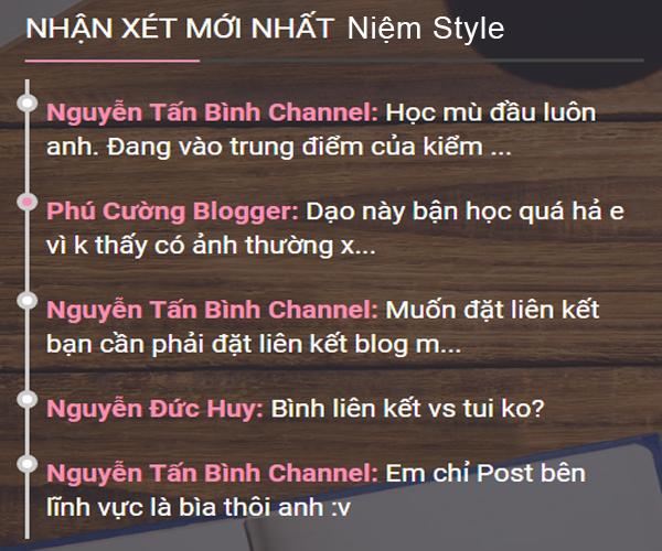 Tiện ích Bình Luận Gần Đây dễ thương cho blogspot/blogger