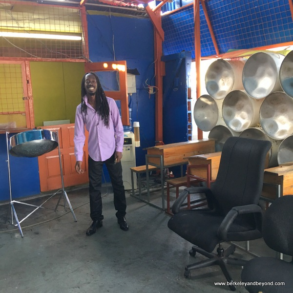 Kwesi Paul at Dan-Demonium pan yard in Trinidad