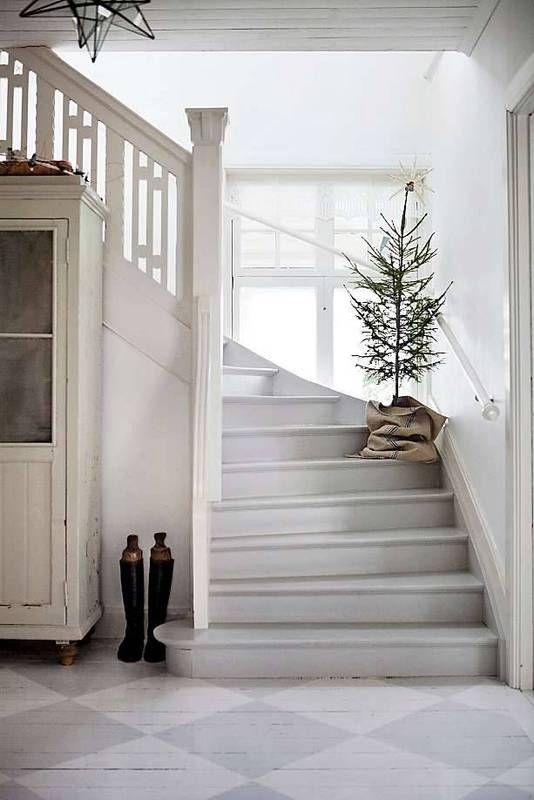 image result for modern farmhouse entry way staircase christmas tree minimal
