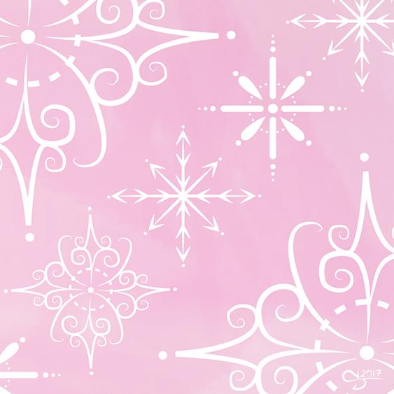 Kuvassa vaaleanpunaisella taustalla erilaisia piirrettyjä graafisia lumihiutaeita.