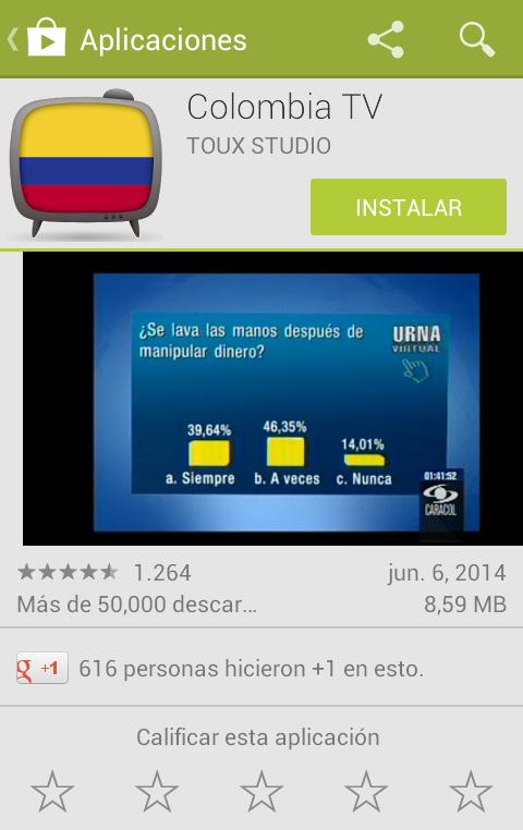 Aplicación en la google play