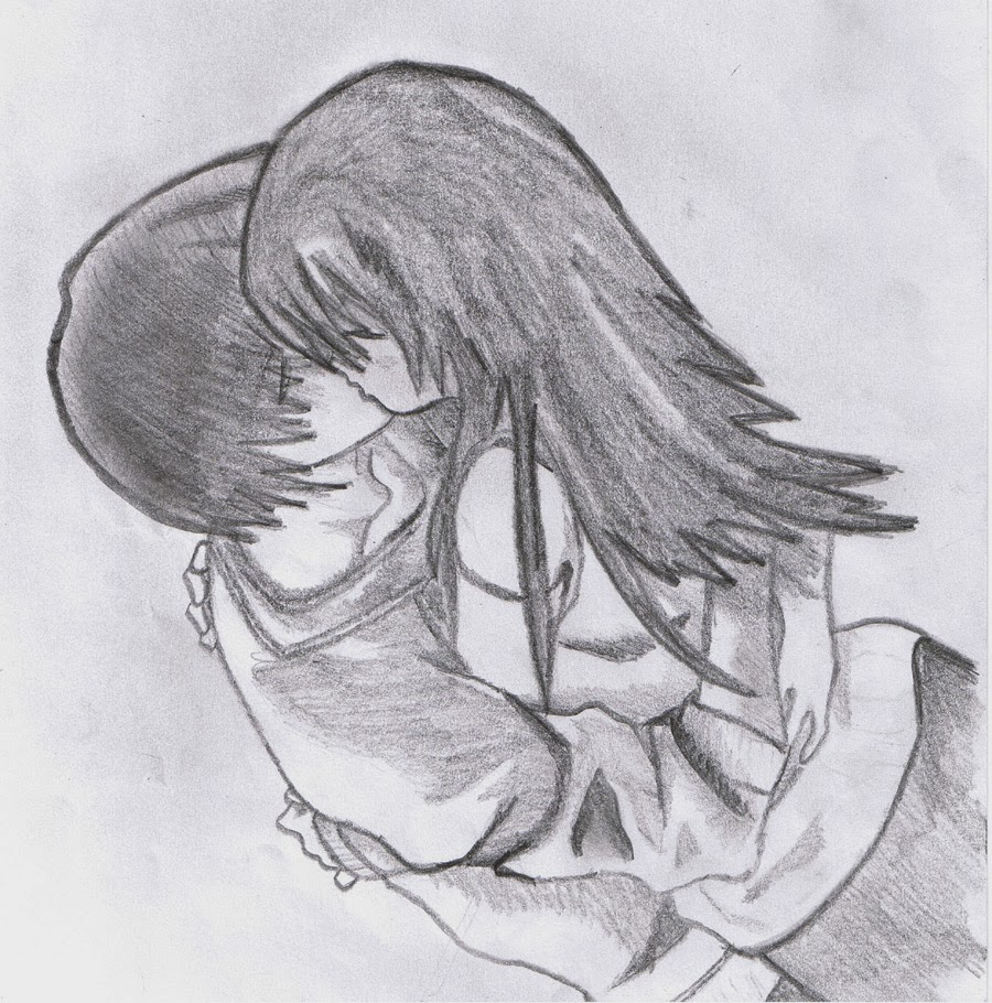 Pencil sketch of couple