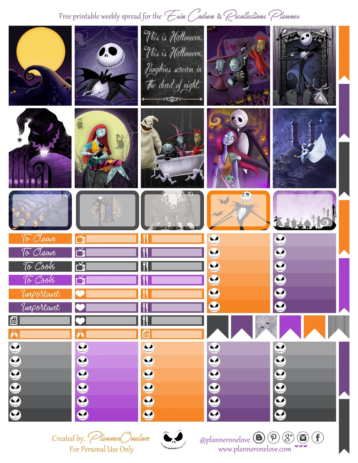 Free Nightmare Before Christmas Printable for the Erin Condren ...