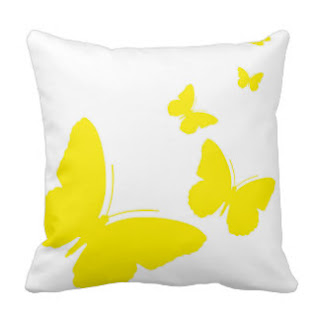 Yellow on white butterflies throw pillow
