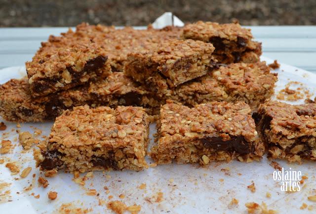 Barrinhas de Cereais com  Manteiga de Amendoim e Chocolate