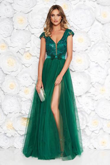 Rochie Artista verde de ocazie cu bust buretat din tul captusita pe interior cu aplicatii florale cu efect 3d