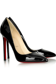 f4648e8d7a5 Black patent leather pumps with a heel that measures approximately 120mm    5 inches. Christian Louboutin shoes have a pointed low-cut toe and  signature red ...