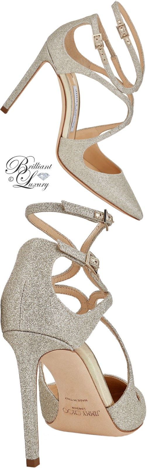 Brilliant Luxury ♦ Jimmy Choo Lancer platinum ice dusty glitter pointy-toe pumps