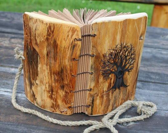 paper Rustic Wedding Wood Guest Book garden with tree