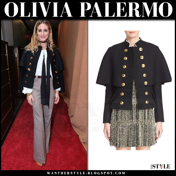 Olivia Palermo in black gold button cape jacket burberry and wide pants what she wore 2016