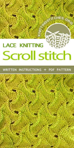 Knitting Stitches -- Lace Knitting Pattern. The Scroll Lace stitch would be great to for afghans, stoles or table runners. #knittingstitches